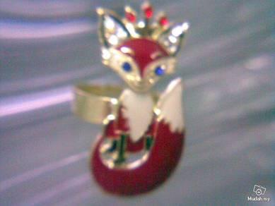 ABRGM-F010 Style Rhinestone Enamel Fox Lady Ring