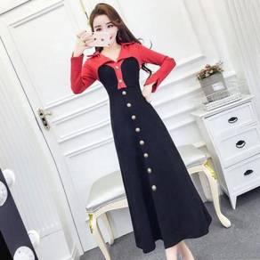 Black brown red long sleeve formal dress RBP0698