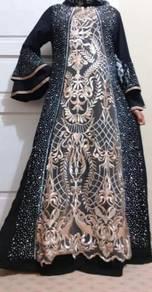 Abaya tangan maxi dress long sleeve Muslimah
