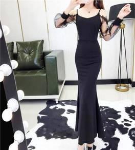 Black off shoulder long sleeve prom dress RBP0699