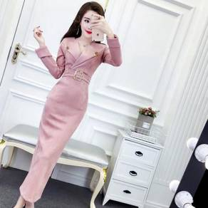 Pink brown long sleeve office maxi dress RBP0697