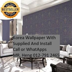 Wall paper Install at Living Space 34h423