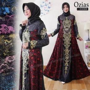 Ozias maxi dress long sleeve Muslimah red blue