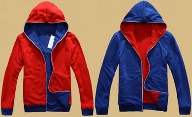 J3434 2-Way Wear Hoodie Red Blue Dual Side Sweater