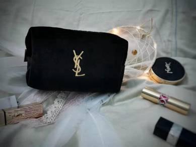 YSL Yves Saint Laurent Black Velvet Cosmetic Pouch