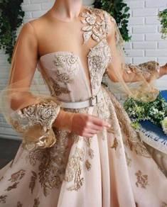 Gold long sleeve glitter wedding dress RB1830