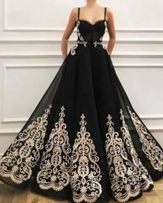 Black gold sexy wedding bridal dress gown RB1829