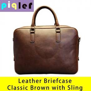 Leather Briefcase Handbag Laptop Office Bag