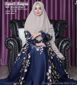 Syari Kayra blue cream maxi dress long sleeve