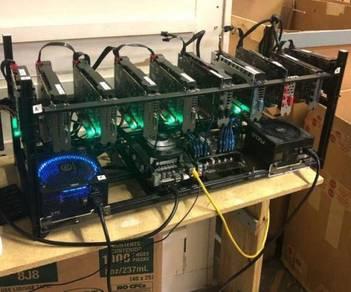 10x GPU 5 RX580 + 5 RX570 Mining Rig 275 MH/S