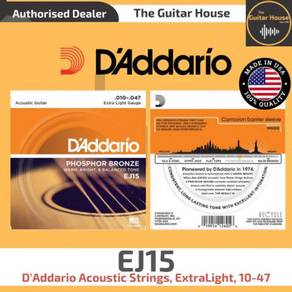 D'Addario EJ15 Acoustic Strings, ExtraLight, 10-47