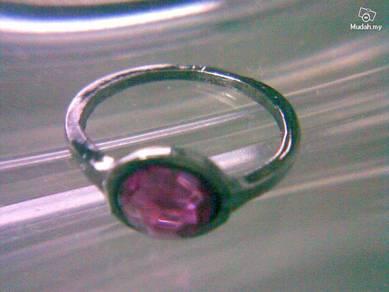 ABRBM-P001 Round Purple Crystal Black Jet Ring Sz5