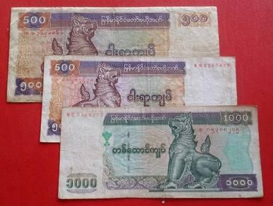 Myanmar 500, 500, 1000 Kyats (3 pcs)