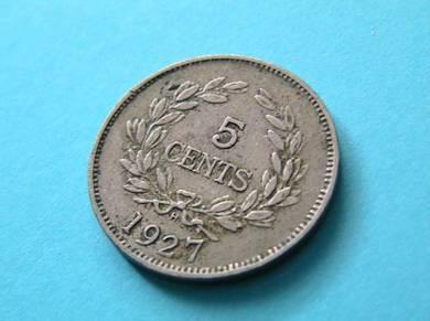 5 Cents 1927 Rajah C.V. Brooke Sarawak