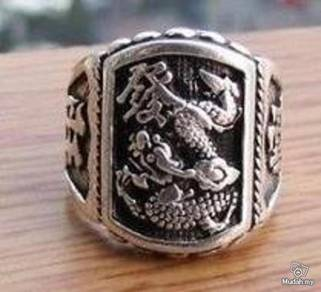 ABRSM-D003 FA Dragon Style Silver Metal Ring Sz8.5