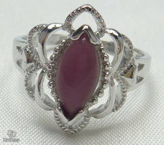 ABRS9-C002 Cat_s Eye - Purple Amethyst Silver Ring