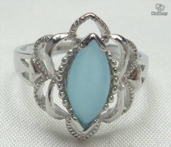 ABRS9-C004 Cat_s Eye - Cyan Sapphire Silver Ring