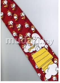 Snoopy Snow Dog Cartoon Novelty Fancy Neck Tie RED