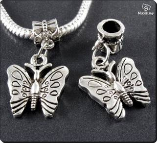 ABPSM-B005 Silver Metal Butterfly Pendant Necklace