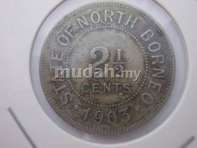 Rare North Borneo 2 and half cent coin