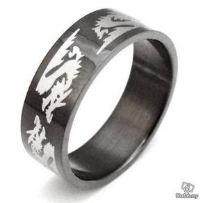 ABRSS-D004 6 Dragon Black Stainless Ring - Size 10
