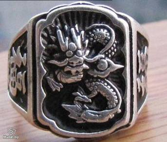 ABRSM-D004 Full Dragon Style Silver Metal Ring S9