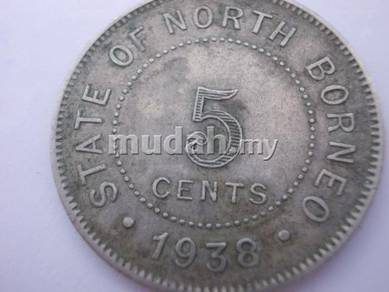 Original 1938 north borneo 5 cent silver coin