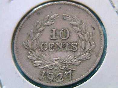10 Cents 1927 Rajah C.V. Brooke Sarawak