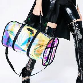Holographic black / pink duffel gym bag RBHB062