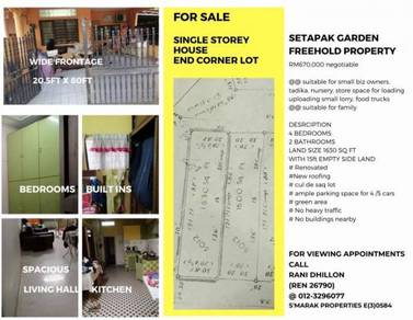 Setapak Garden, single Storey Terrace End Lot, with side usable land
