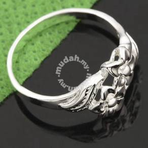 ABRWG-F003 Flowers n Leaf White Gold Ring - Size 8