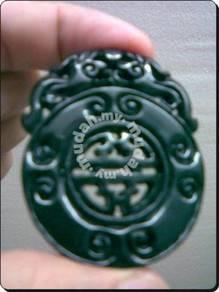 ABPJ-D054 Dark Jade Double Dragon Pendant Necklace