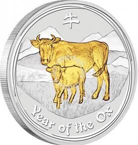 Australian lunar ii 2009 gilded ox 1oz silver coin