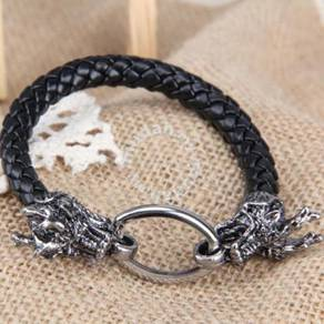 Punk Style Dragon Man Braid Bracelet Leather