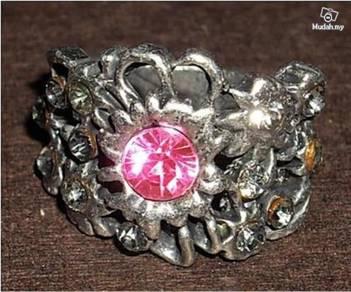 ABRSM-R001 Ruby Rhinestone CZs Silver Metal Ring-1