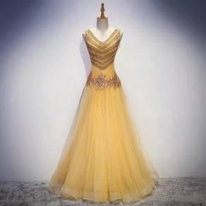 Gold pink red dress prom wedding bridal RBP0712