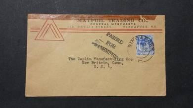 Antik Cover CENSOR Malaya WW2 1940 No 2273 RARE