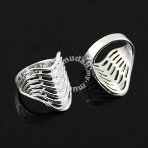 ABRWG-W023 Silver Wave White Gold Filled Ring Sz 7