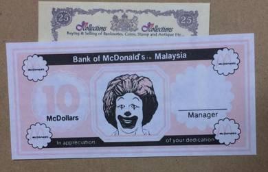 10 MC DOLLAR BaNK OF McDONALD'S Malaysia