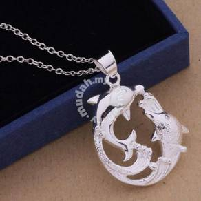 ABPSM-D054 Nice Silver Dolphins Pendant Necklace