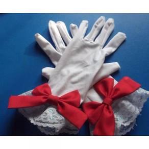 Cardcaptor sakura white red cosplay gloves ribbon