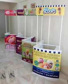 Stall Lipat Booth Aiskrim Kaunter Kiosk Aiskrim