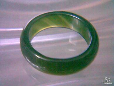 ABRJ-G007 Dark Green Toning Natural Jade Ring-6mm