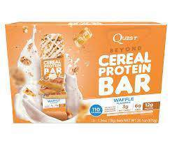 Quest cereal protein bar waffle gym meal fiber