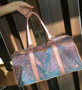 Holographic glitter pink duffel gym bag RBHB063