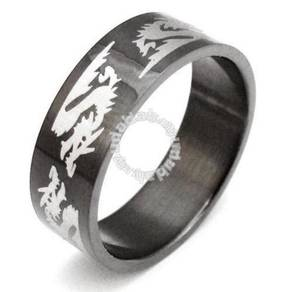 ABRSS-D004 6 Dragon Black Stainless Ring - Size 12