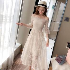 Cream black pink star midi dress RBP0754