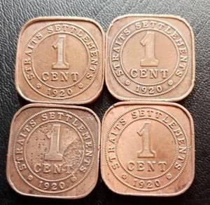 Straits Settlements 1 Cent 1920 (4 pcs Set E)