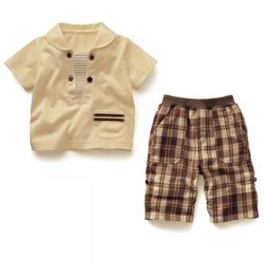 Smart boy sailor white shirt brown checkered pants