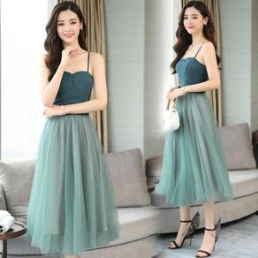 Green tutu midi bridesmaid wedding dress RBP0752